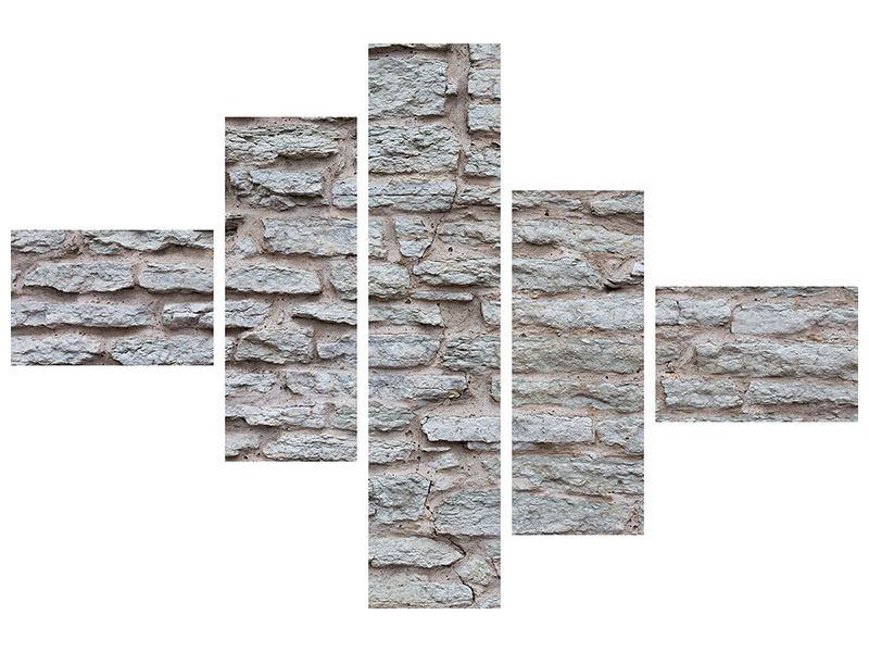 Poster 5-teilig modern Steinmauer