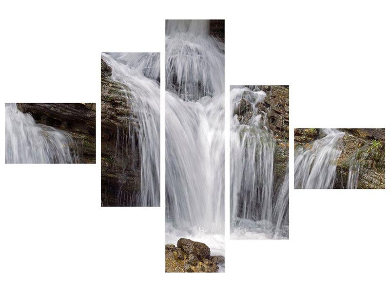 Poster 5-teilig modern Wasserfall XXL