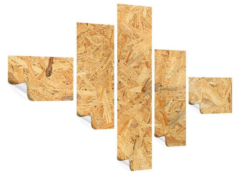 Poster 5-teilig modern Gepresstes Holz