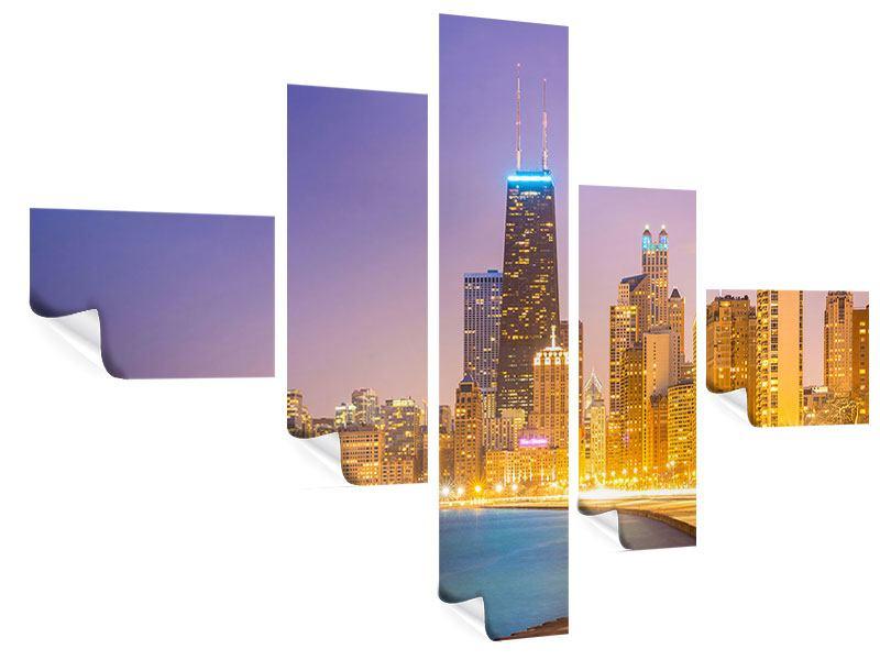 Poster 5-teilig modern Skyline Chicago in der Nacht