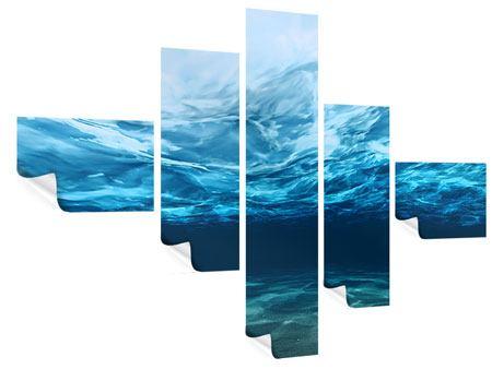 Poster 5-teilig modern Lichtspiegelungen unter Wasser