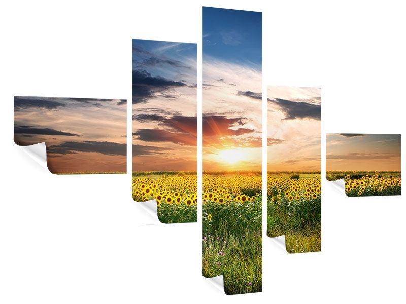 Poster 5-teilig modern Ein Feld von Sonnenblumen