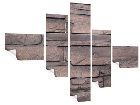 Poster 5-teilig modern Luxusmauer