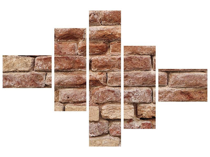 Poster 5-teilig modern Loft-Mauer