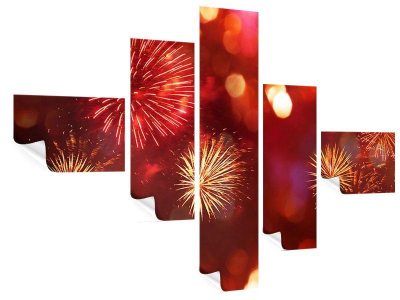 Poster 5-teilig modern Buntes Feuerwerk