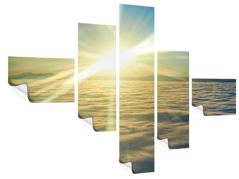 Poster 5-teilig modern Sonnenaufgang über den Wolken