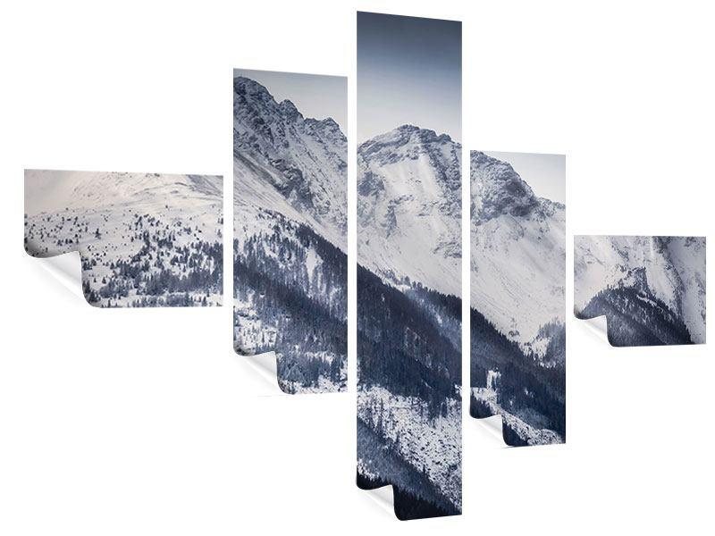 Poster 5-teilig modern Die Berge der Schweiz
