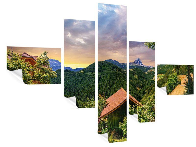 Poster 5-teilig modern Schweizer Berge im Sommer
