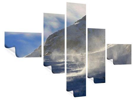 Poster 5-teilig modern Mit Schneeverwehungen den Berg in Szene gesetzt