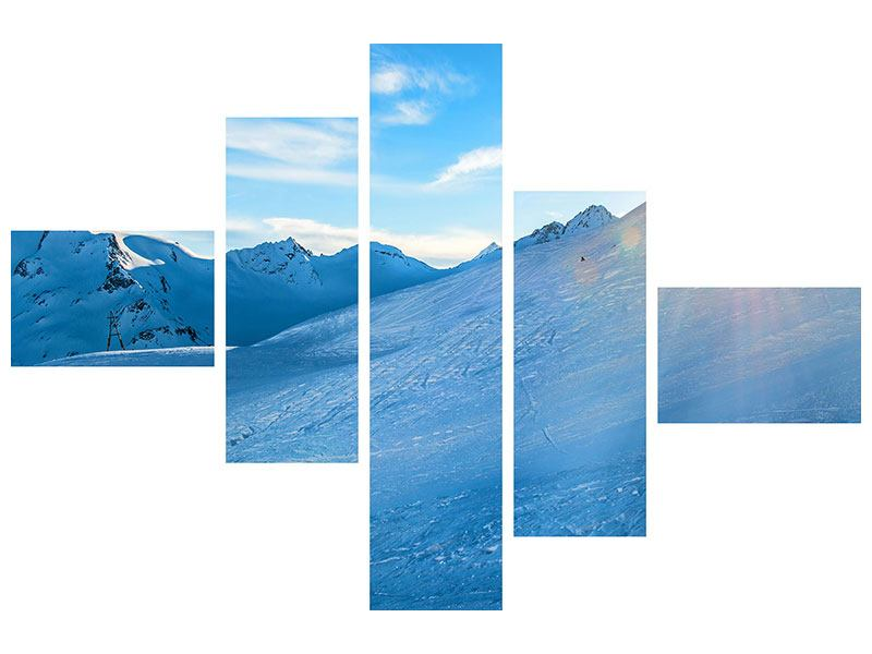 Poster 5-teilig modern Sonnenaufgang in den Bergen