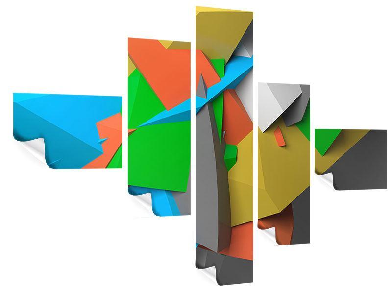 Poster 5-teilig modern 3D-Geometrische Figuren