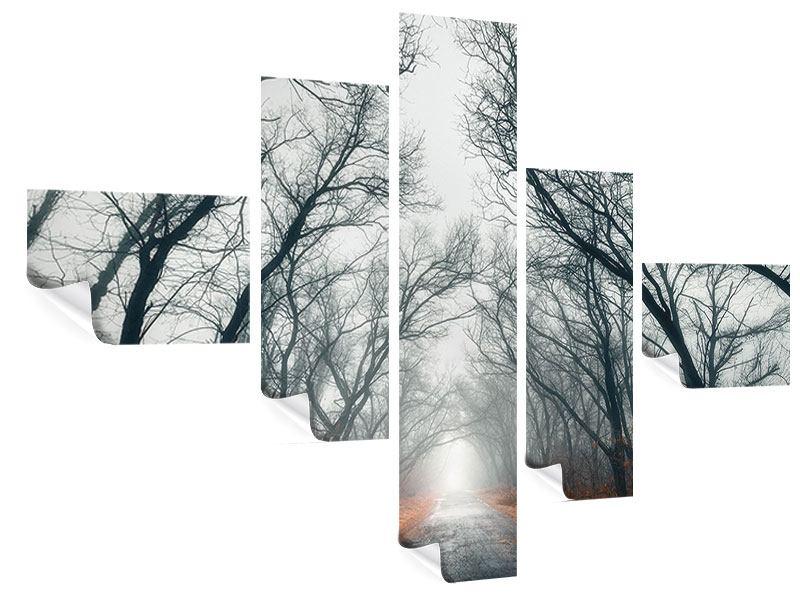 Poster 5-teilig modern Mysteriöse Stimmung im Wald