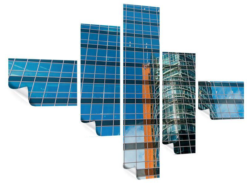 Poster 5-teilig modern Wolkenkratzer-Spiegel