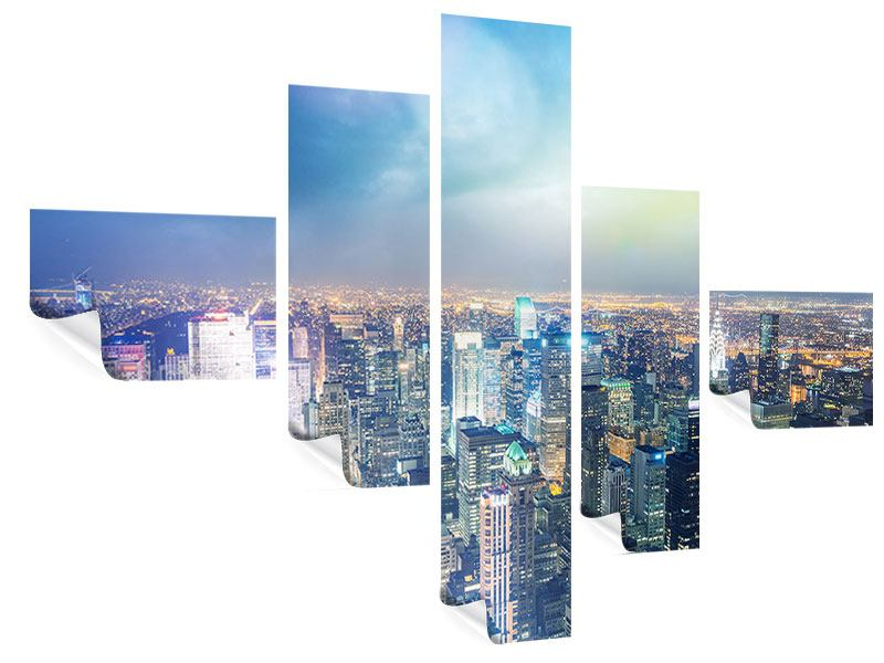 Poster 5-teilig modern Skyline NY bei Sonnenuntergang