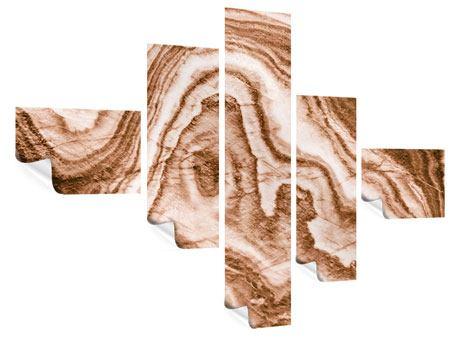 Poster 5-teilig modern Marmor in Sepia