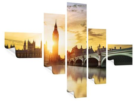 Poster 5-teilig modern Skyline Big Ben im Sonnenuntergang