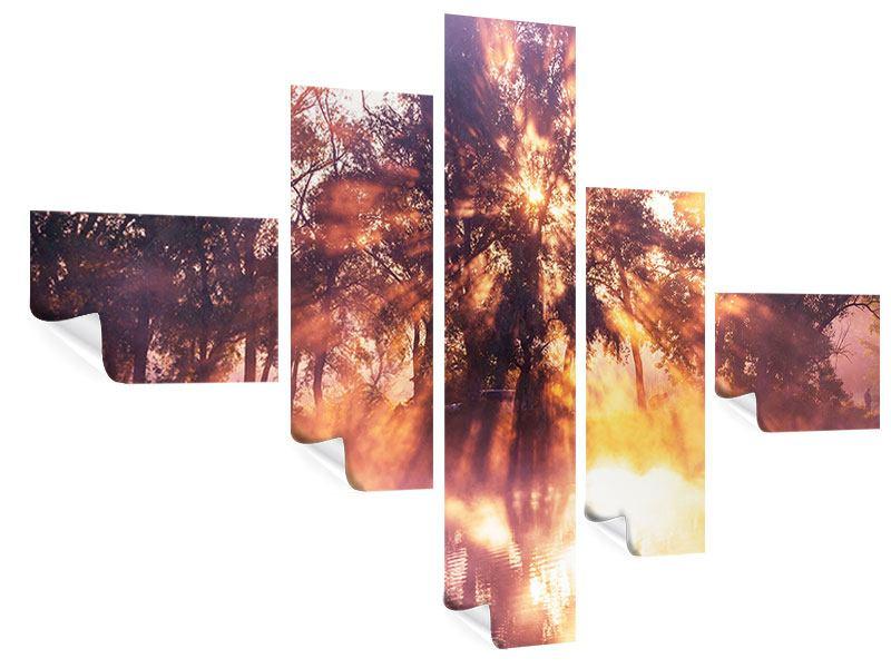 Poster 5-teilig modern Die Waldspiegelung