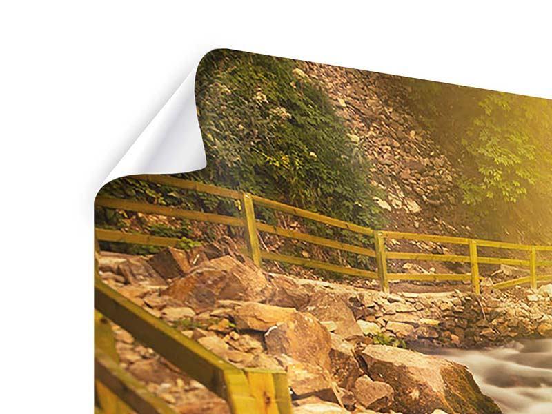 Poster 5-teilig modern Sonnenuntergang am Wasserfall