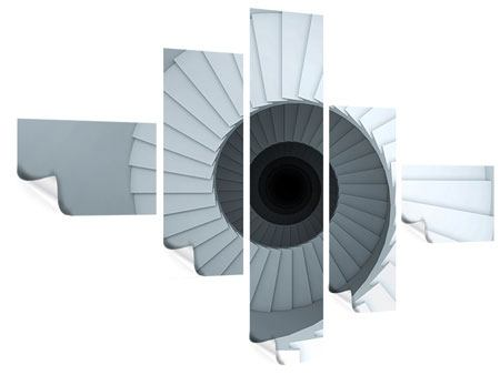 Poster 5-teilig modern 3D Wendeltreppe