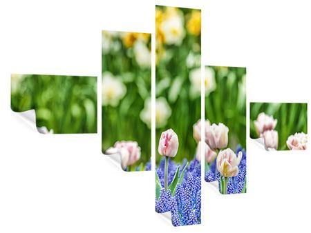 Poster 5-teilig modern Ein Garten mit Tulpen