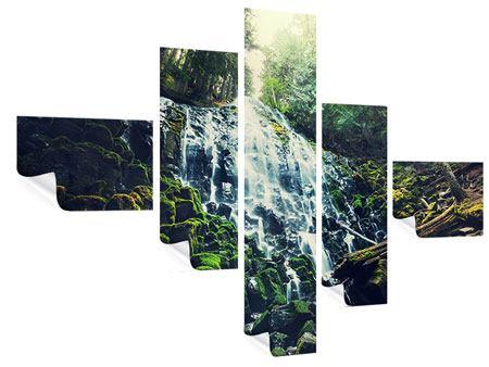 Poster 5-teilig modern Feng Shui & Wasserfall