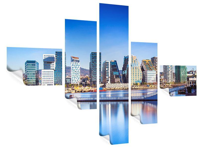 Poster 5-teilig modern Skyline Oslo
