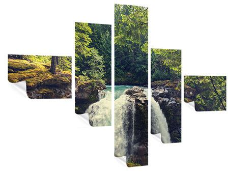 Poster 5-teilig modern Flussströmung