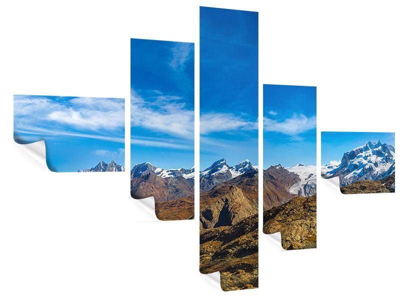 Poster 5-teilig modern Schweizer Alpen im Frühling