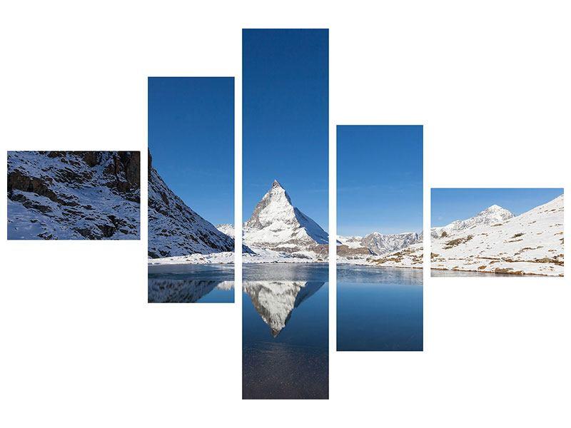 Poster 5-teilig modern Der Riffelsee am Matterhorn