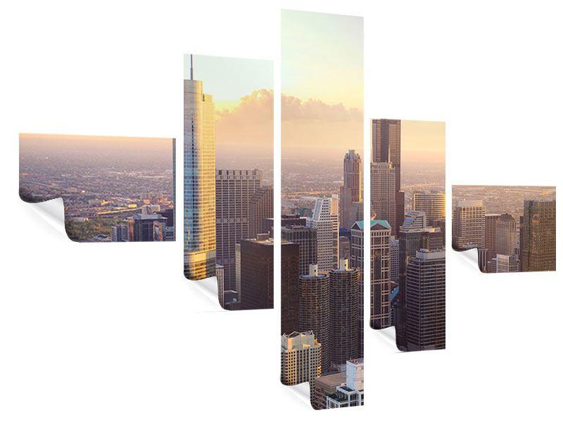 Poster 5-teilig modern Skyline Chicago