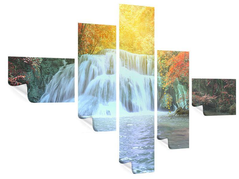Poster 5-teilig modern Wasserfall im Licht