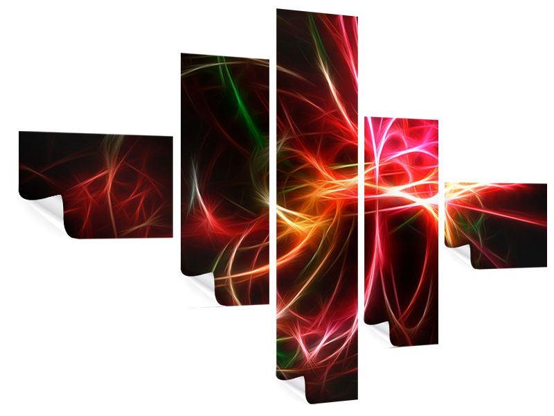 Poster 5-teilig modern Fraktales Lichtspektakel