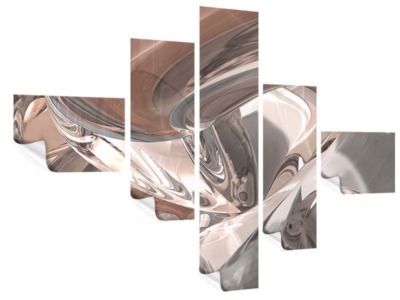 Poster 5-teilig modern Abstraktes Glasfliessen