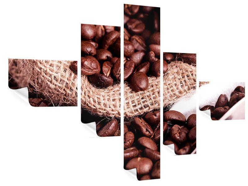 Poster 5-teilig modern XXL Kaffeebohnen