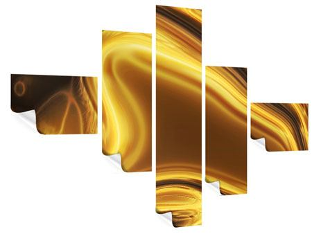 Poster 5-teilig modern Abstrakt Flüssiges Gold