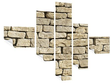 Poster 5-teilig modern Alte Mauer