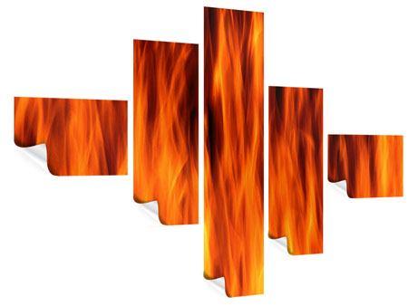 Poster 5-teilig modern Feuer Close Up