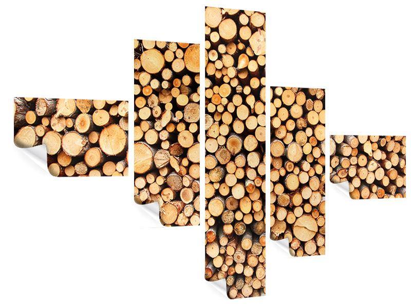 Poster 5-teilig modern Holzstämme
