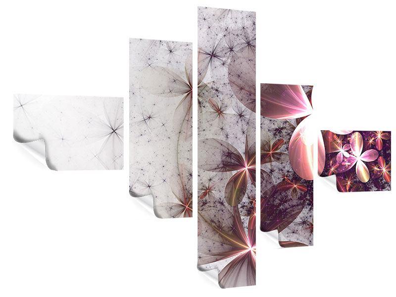 Poster 5-teilig modern Abstrakte Blumen