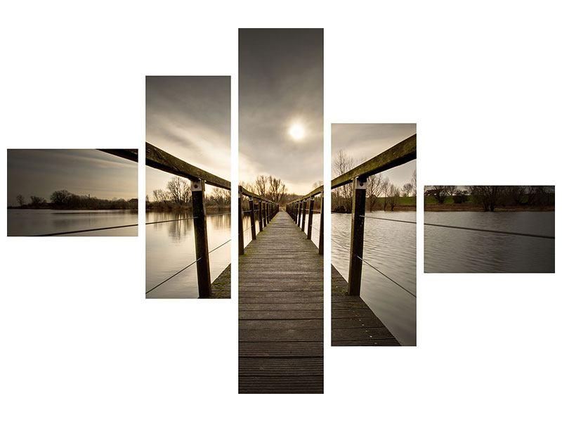 Poster 5-teilig modern Die Holzbrücke