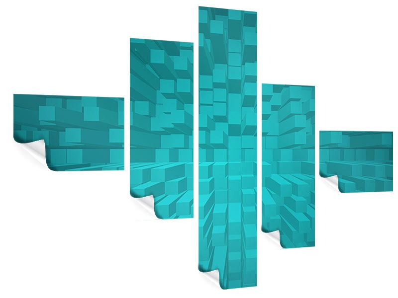 Poster 5-teilig modern 3D-Kubusse