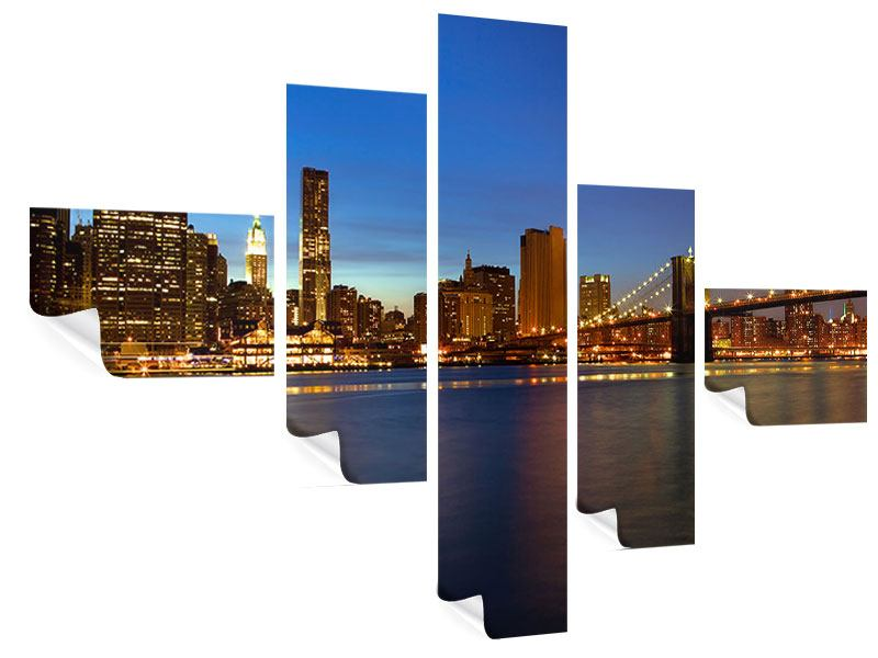 Poster 5-teilig modern Skyline Manhattan im Lichtermeer