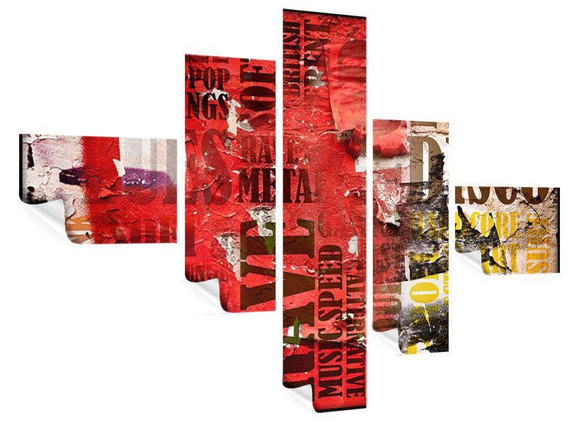 Poster 5-teilig modern Musiktext im Grungestil
