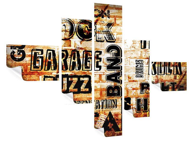 Poster 5-teilig modern Rock im Grungestil