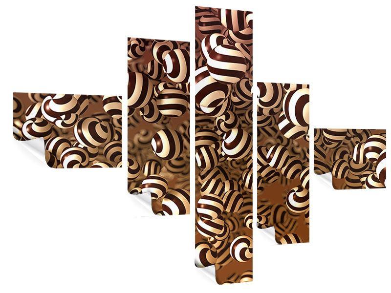 Poster 5-teilig modern Schokoladen-Bonbons