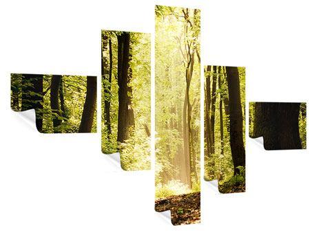 Poster 5-teilig modern Sonnenaufgang im Wald