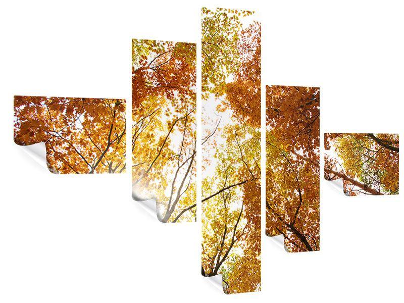 Poster 5-teilig modern Herbstbäume