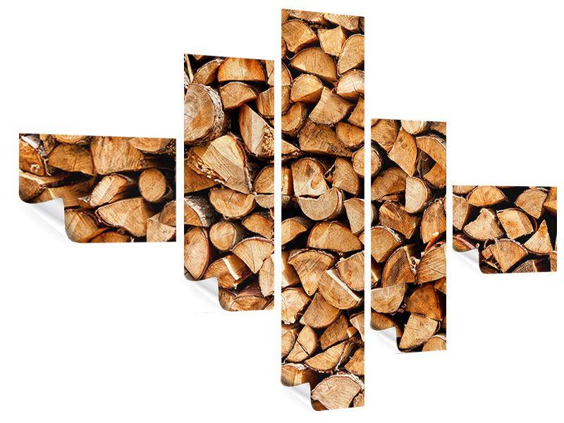 Poster 5-teilig modern Gestapeltes Holz