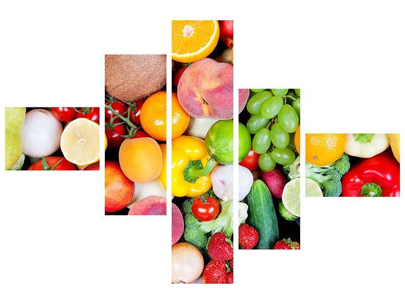 Poster 5-teilig modern Frisches Obst