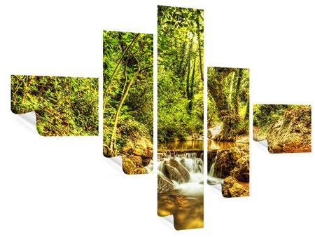 Modern 5 Piece Poster Waterfall In The Forest
